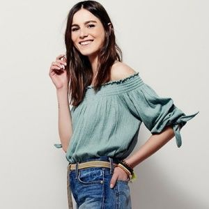 Seafoam Free People Off-the-shoulder top, XS/TP